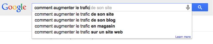 les suggestions automatiques de Google