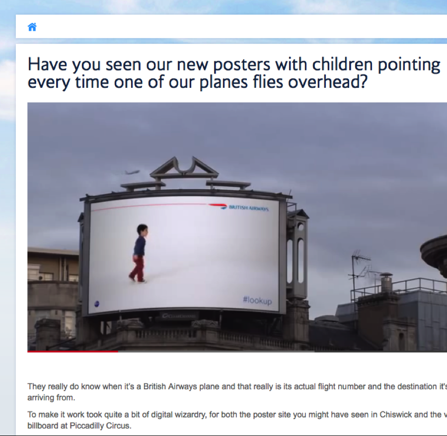 British Airways content_marketing_example