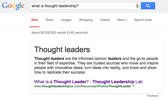 """What is thought leadership"" Google result"
