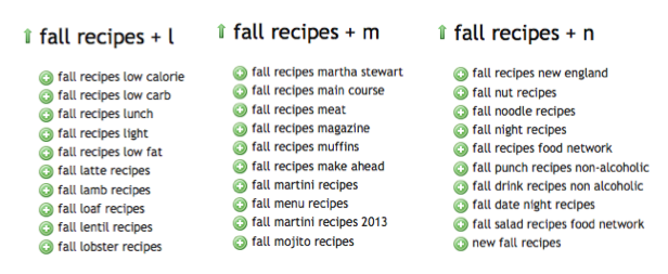 fall recipes keyword ideas