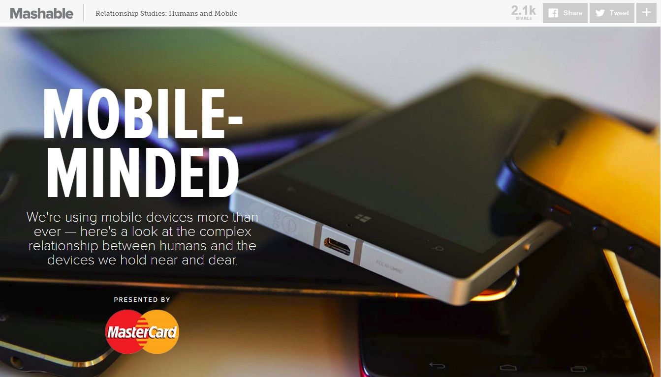 Mashable and Mastercard mobile native ad