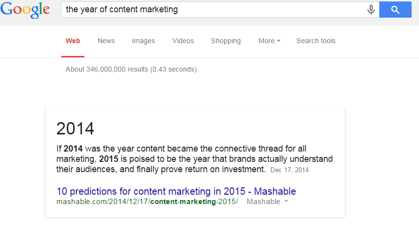 "google search result for ""the year of content marketing"""