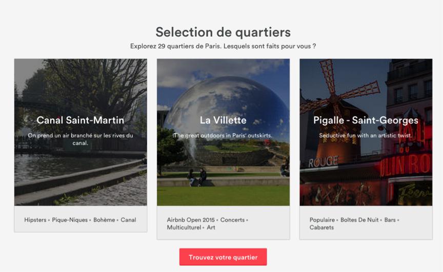 AirBnB Selection de Quartiers