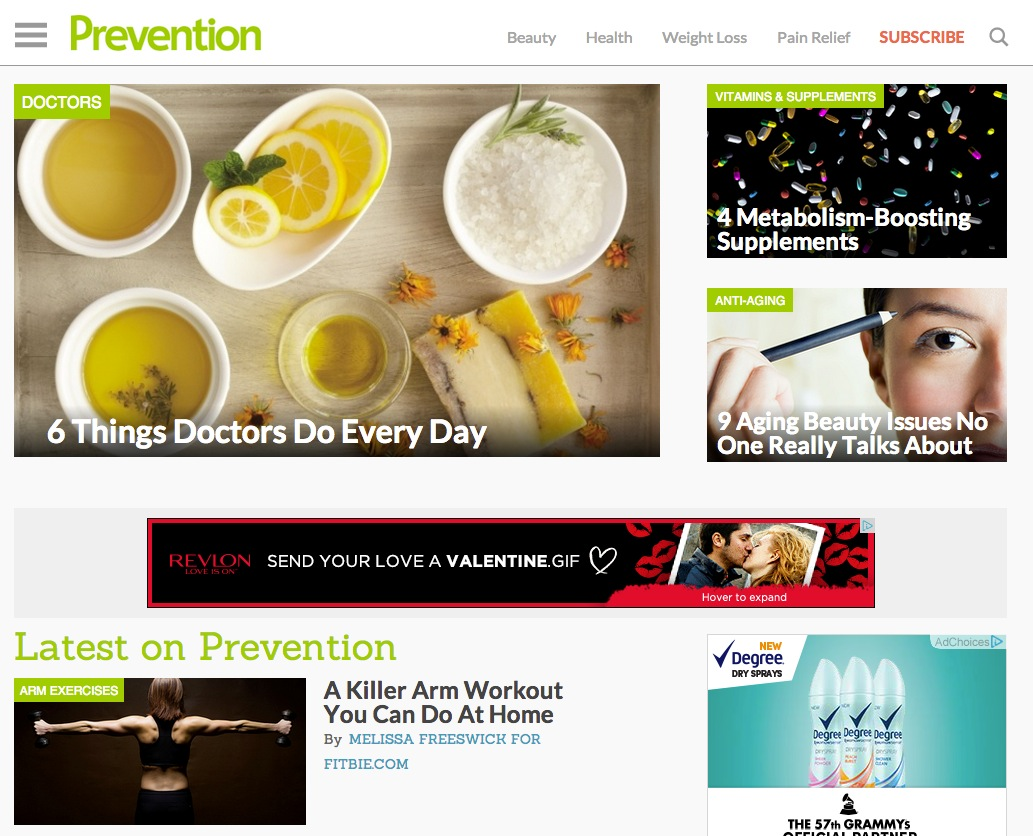 screenshot, the new prevention.com