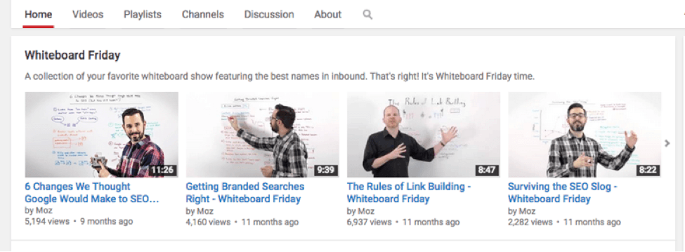 Moz's Whiteboard Friday videos