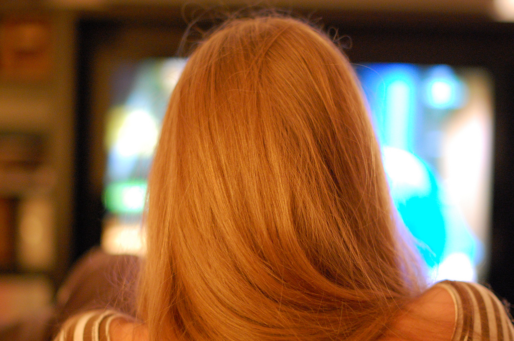 Photo, watching a television set