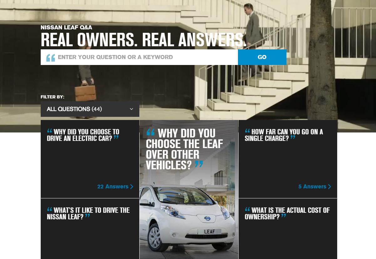 Nissan Leaf Q&A homepage