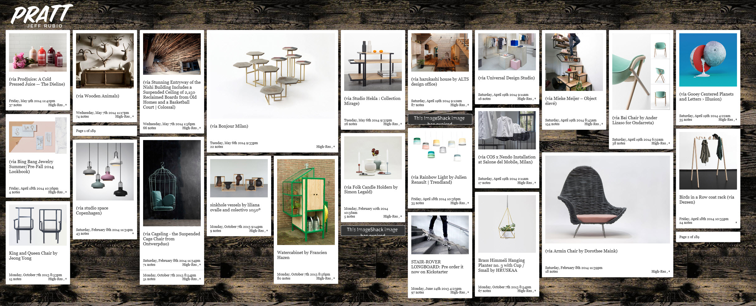 Pratt's Tumblr, managed by Jeff Rubio, a great example of double content curation