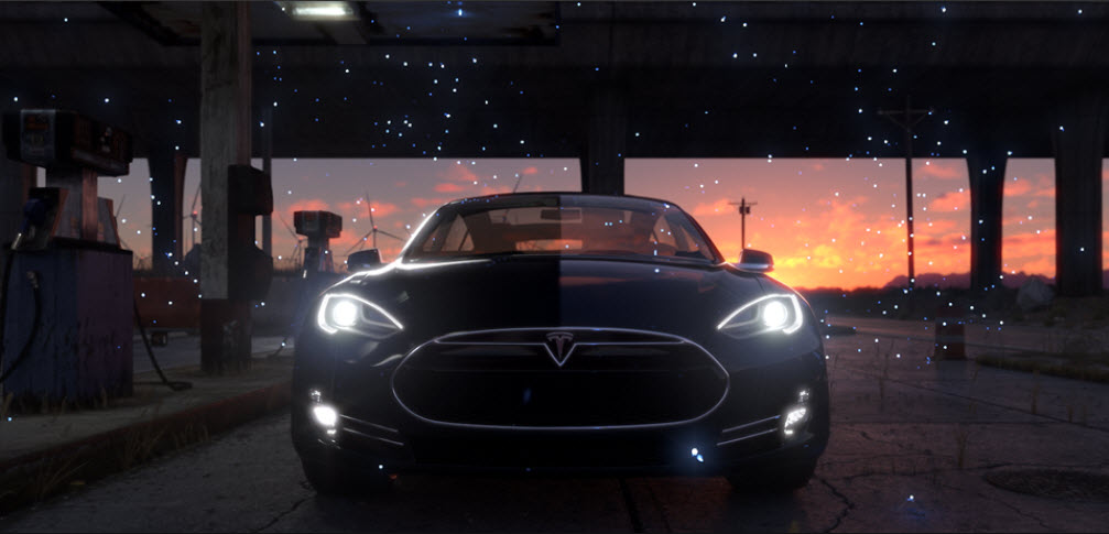 screenshot; Parachute makes Tesla featuring an army of fireflies