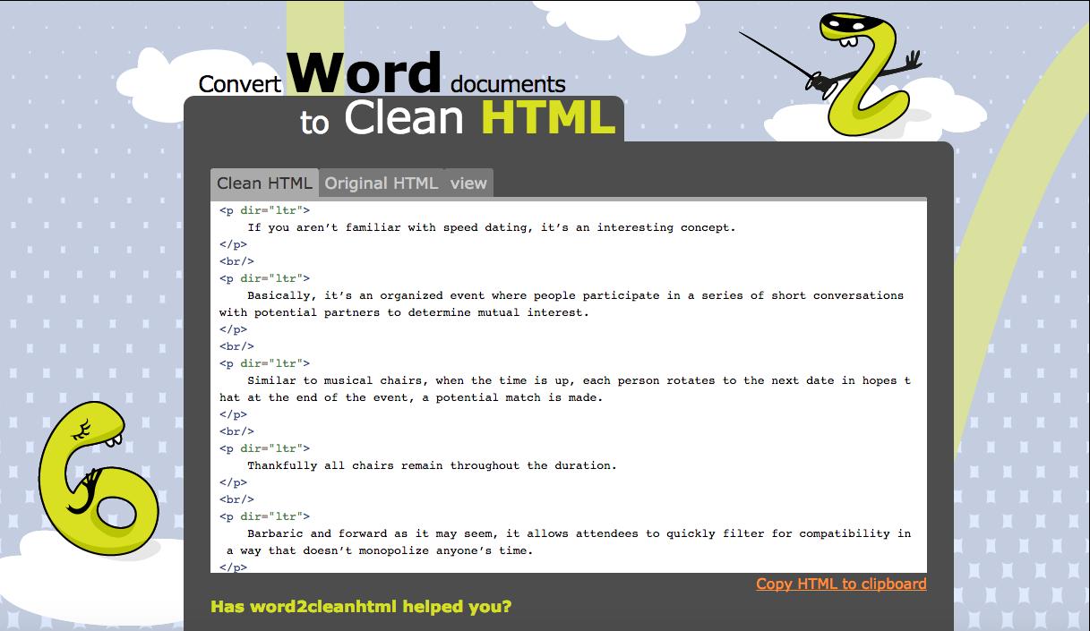 Word2CleanHTML.com