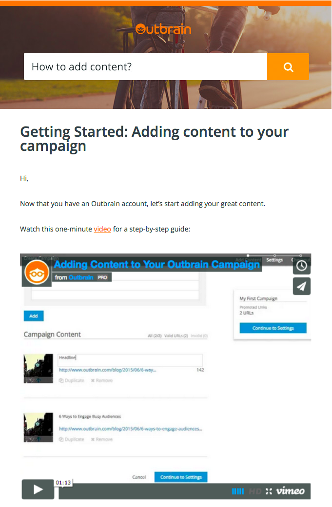 Outbrain Adding Content Email
