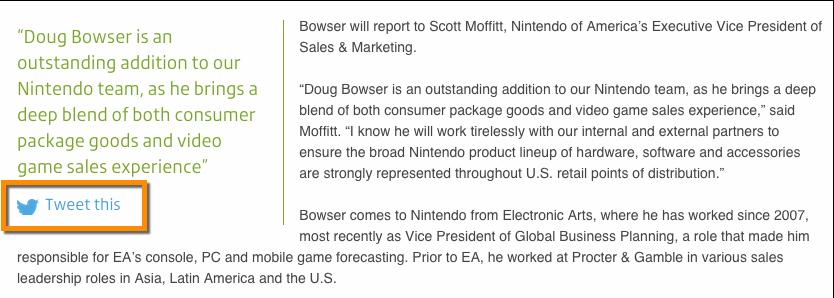 PressRelease Nintendo Example