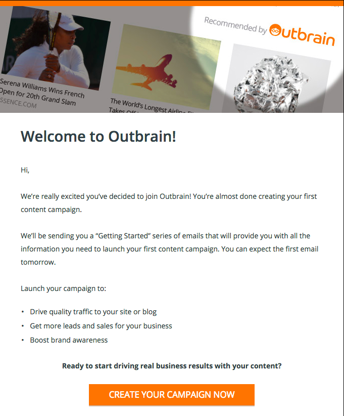 Outbrain Welcome Email