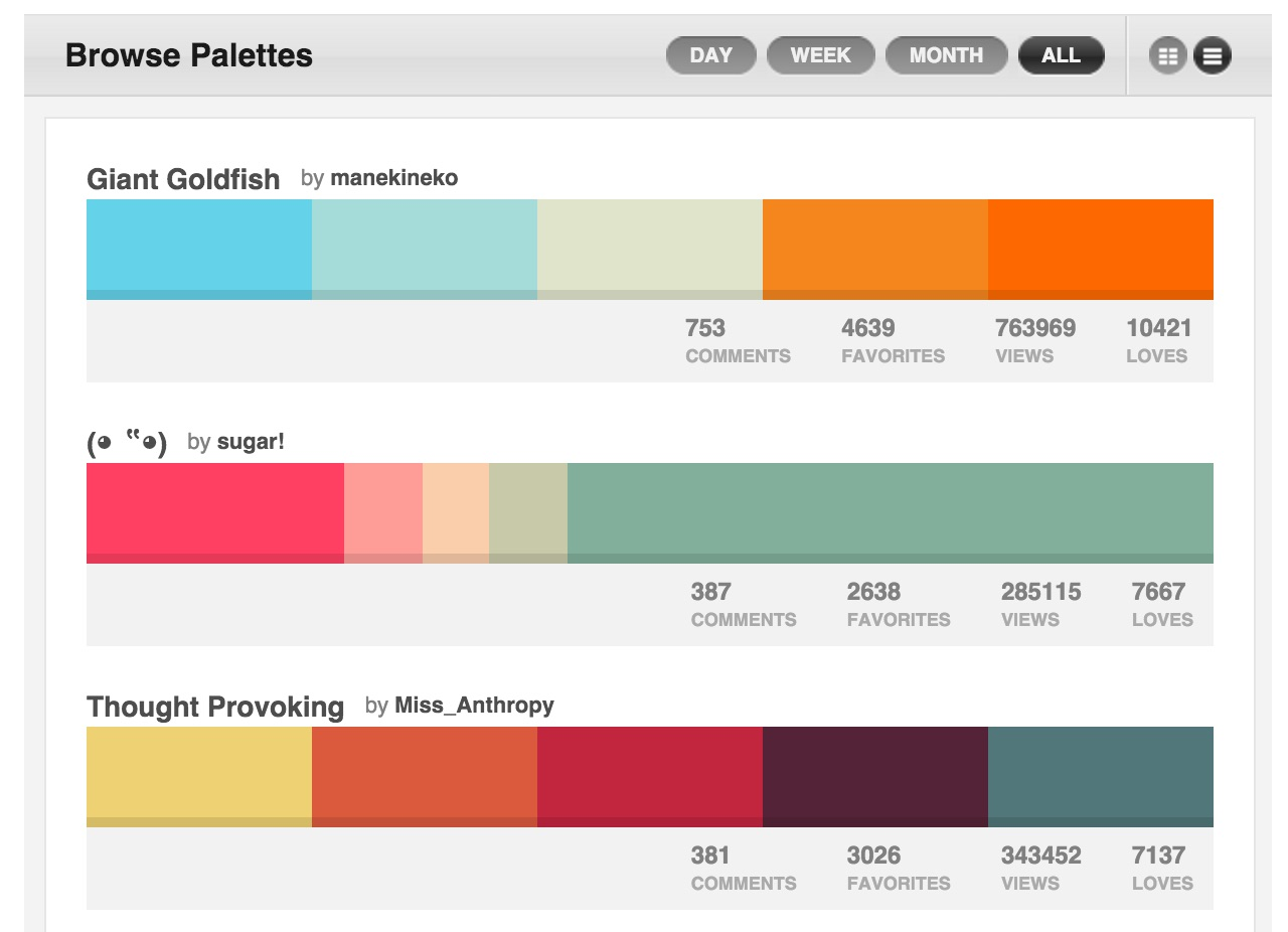 Graphic Design Skills Colourlovers Palettes
