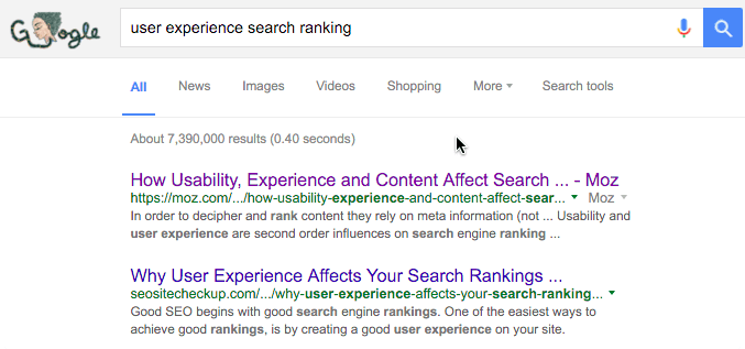 user experience search ranking