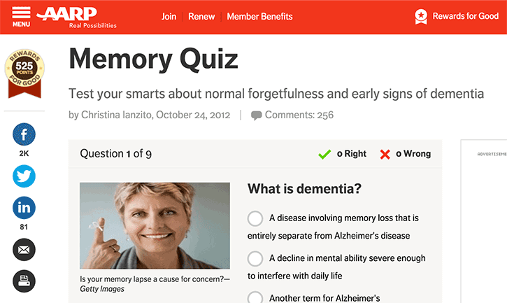 quiz that tests your knowledge about dementia