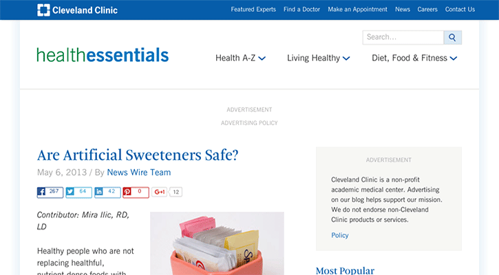 potential dangers of artificial sweeteners