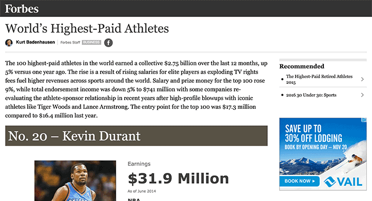 the world's highest paid athletes on Forbes.com