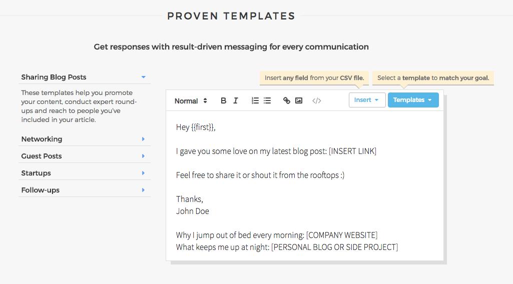 Proven templates