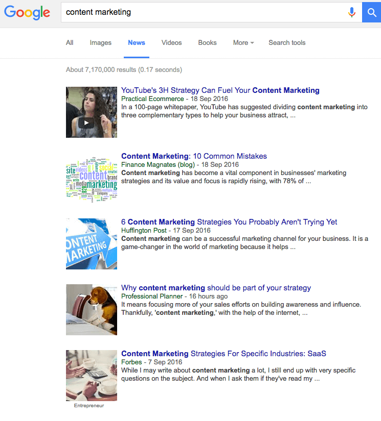News search for content marketing