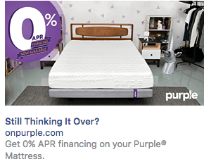 Online mattress retailer Purple's Facebook retargeting ad