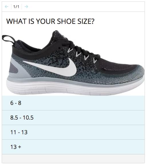 Shoe size quiz interactive content
