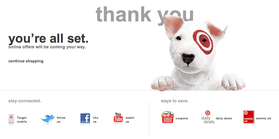Target thank you page