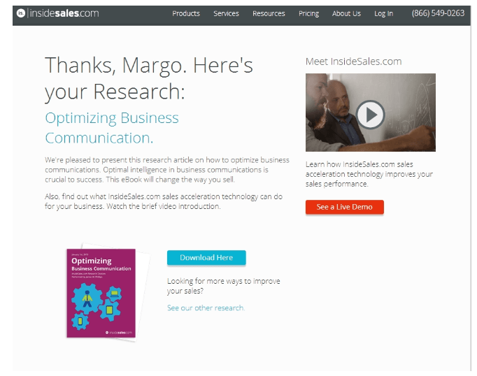 insidesales thank you page