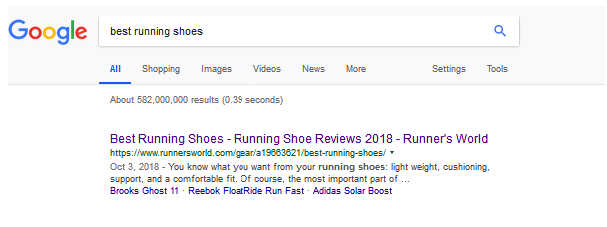 best running shoes search result