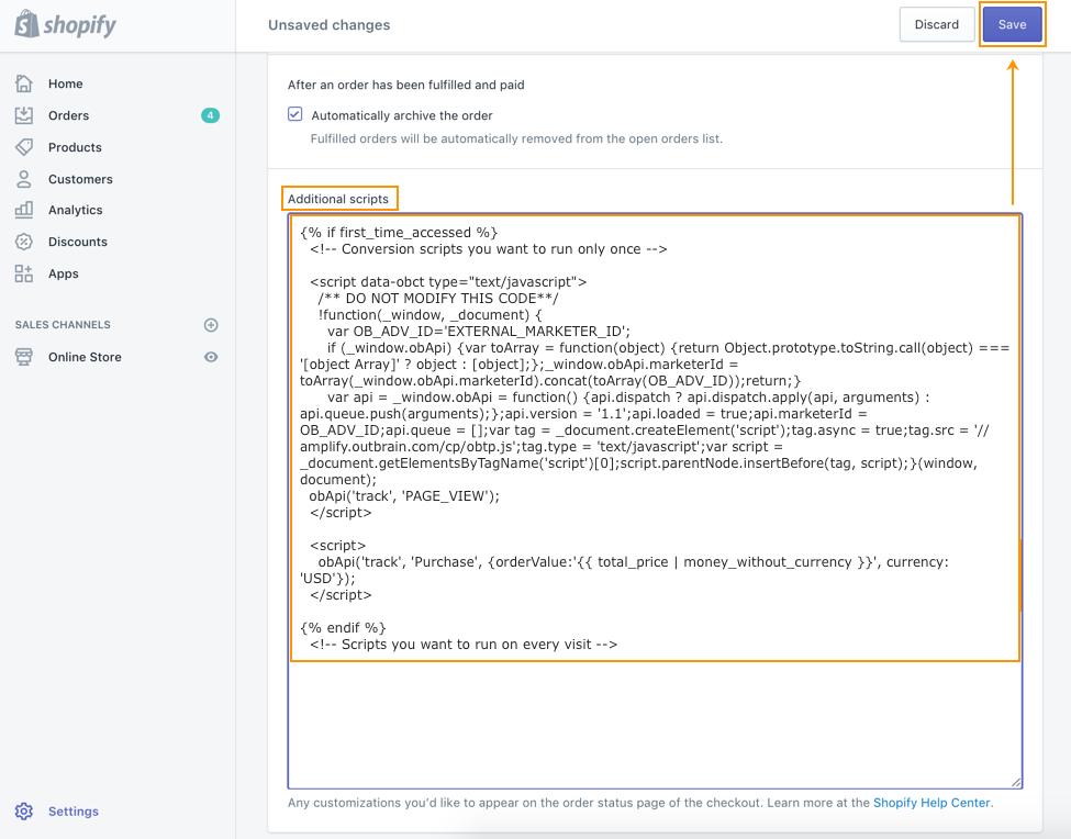 Outbrain's Pixel On Shopify Platform | FAQ | Conversion